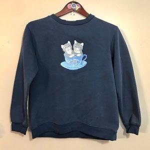Vtg 90s kittens in a teacup navy blue sweatshirt